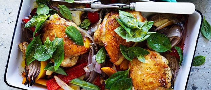Chicken, capsicum and basil tray bake
